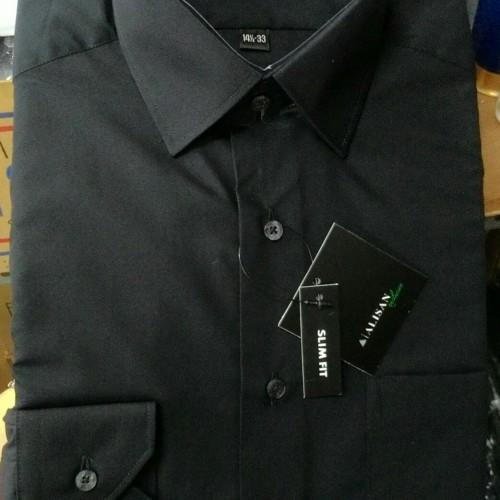 Foto Produk Kemeja Pria Alisan Hitam Slimfit Polos Panjang - Hitam, L dari Mega Hero Shirts