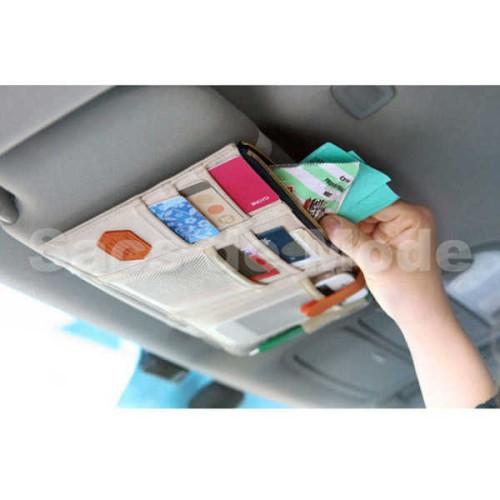 Foto Produk Sun Visor Car Organizer / Tempat Kartu Uang HP Serbaguna Mobil - Cream dari Sacs de Mode