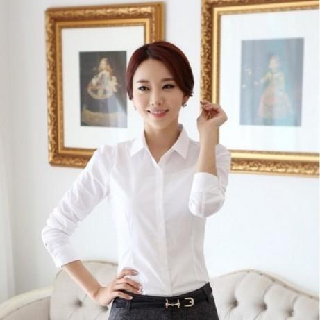 Foto Produk Baju Kemeja Wanita Warna Putih Polos Lengan Panjang Kasual Modern dari DeeBee_id