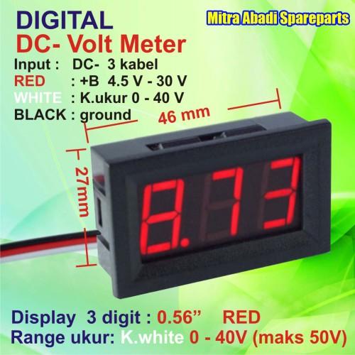 Foto Produk Voltmeter DC 0V-40V/0-40 Volt Digital With Frame 3 Kabel Merah/Red dari Mitra Abadi Spareparts