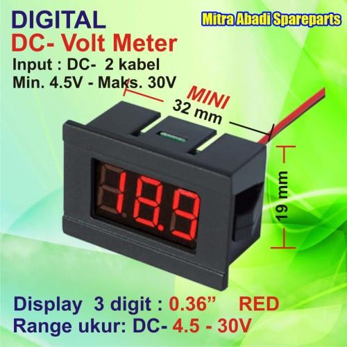 Foto Produk Voltmeter DC 4.5V-30V Mini Digital 2 Kabel With Frame Merah/Red dari Mitra Abadi Spareparts