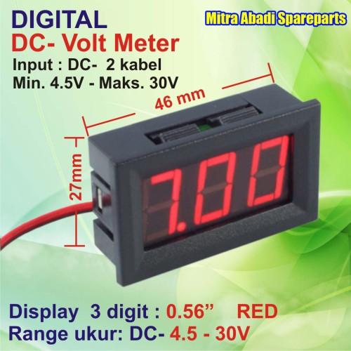 Foto Produk Voltmeter DC 4.5V-30V Digital 2 Kabel With Frame Merah/Red dari Mitra Abadi Spareparts