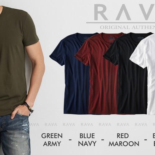 Foto Produk Baju Kaos Pria Henley Oblong Original by RAVA (PROMO BEST SELLER) - Putih dari RAVA ID