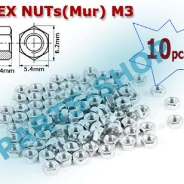 Foto Produk Mur Hexagonal Nuts baut M3 Hex Nut Screw M03 mur Segienam baud 3mm dari parts-shop