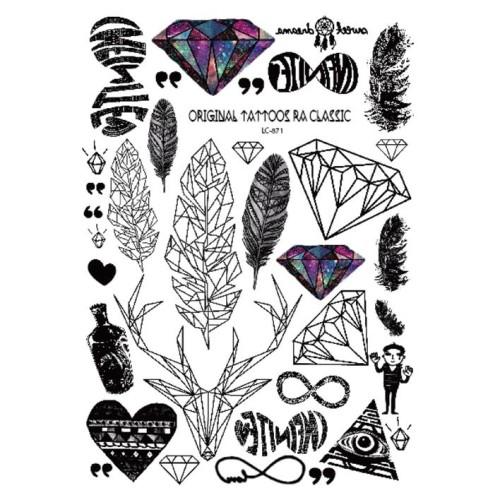 Foto Produk LC871 Temporary Art Tattoo Sticker Diamond Deer Feather Heart dari TisyaArt