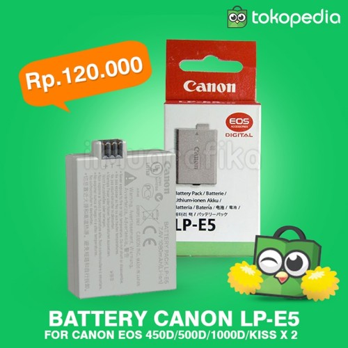 Foto Produk Battery Baterai kamera DSLR canon 450D / 500D / 1000D LP-E5 BEST! dari ilmu grafika