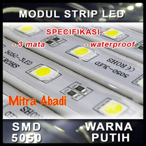 Foto Produk LED Modul 3 Mata Strip SMD 5050 Putih/White DC 12V dari Toko Mitra Abadi