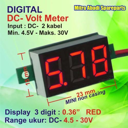 Foto Produk Voltmeter DC 4.5V-30V Mini Digital 2 Kabel Tanpa Frame Merah/Red dari Mitra Abadi Spareparts