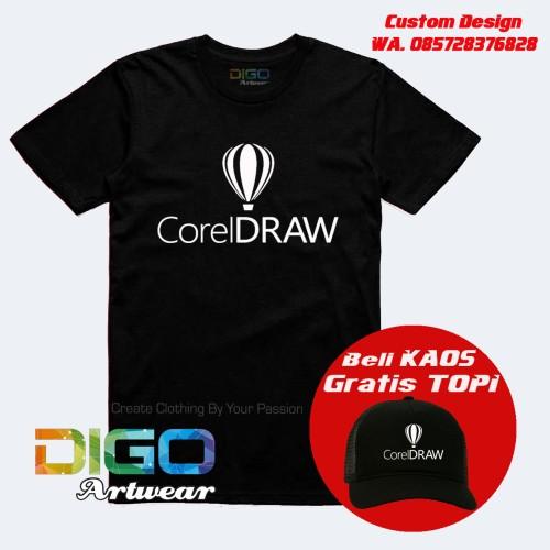 Foto Produk kaos corel draw desainer / kaos komputer desain BONUS TOPI EXCLUSIF - Putih dari Digo Artwear