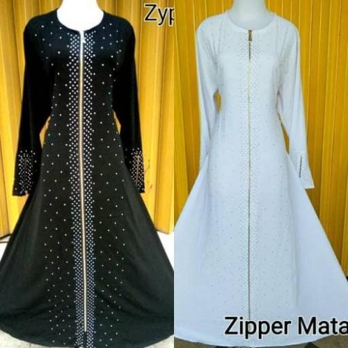 Foto Produk gamis abaya zyper / zipper mata putih - Putih, S dari GrosirAbaya