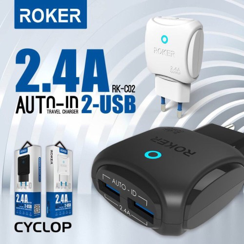 Foto Produk Charger Roker Cyclop 2 Port 2.4A Auto ID Micro USB / Fast Charge Led dari Ads26