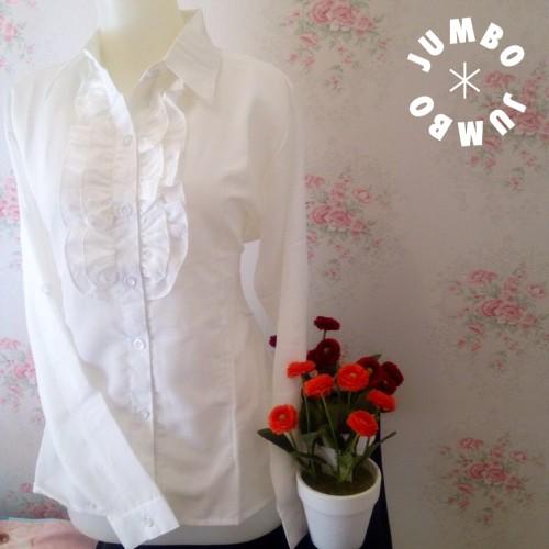 Foto Produk Kemeja blus putih wanita renda simple kerah zara Jumbo dari Orlenachang