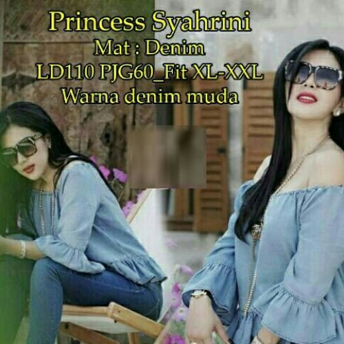 Foto Produk [princess syahrini RO] blouse wanita super denim biru muda dari FASHIONISTA's GROSIR