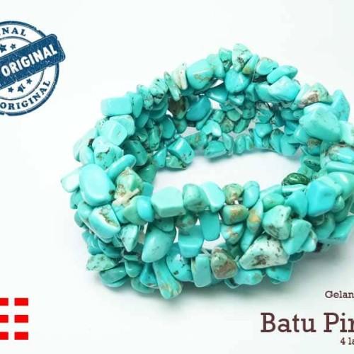 Foto Produk VeE Gelang Wanita Batu Pirus Koral / Kerikil Asli Natural 4 Lapis dari Vee Jewelry