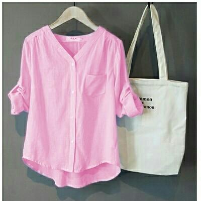 Foto Produk [Momon stripe pink RO] blouse wanita katun pink dari FASHIONISTA's GROSIR