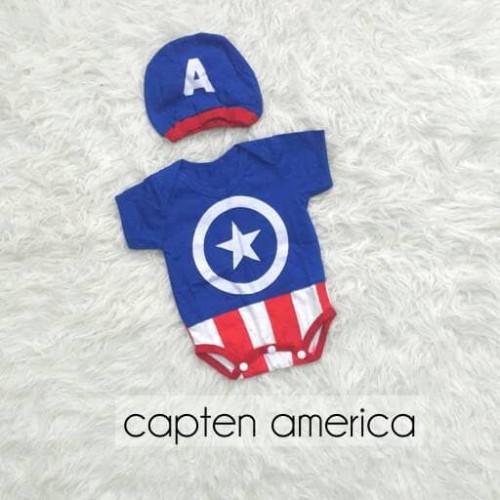 Foto Produk Baju Bayi Jumper Bayi Laki Laki Kostum Superhero Captain America dari Nuning Ningrum Shop