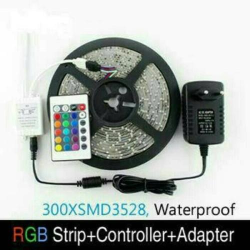Foto Produk LED STRIP RGB SMD 3528 LENGKAP DENGAN ADAPTOR DAN REMOT dari azisshoop