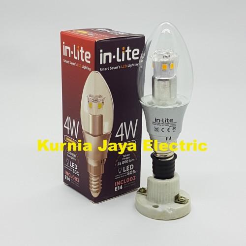 Foto Produk Lampu Led In-Lite Candle/Jantung 4W Warm White(Kuning) E14 220V dari Kurnia Jaya Electric
