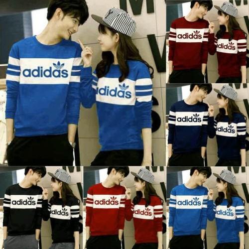 Foto Produk kaos couple adidas lengan panjang - baju pasangan sweate couple adidas dari Grosir Baju Couple :)