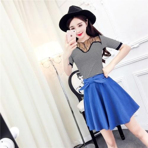 Foto Produk Baju Setelan Top   Skirt Stripe And Blue Import Original dari Fashion-21
