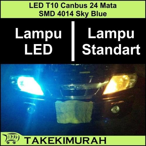 Foto Produk LED T10 Canbus 24 Mata SMD 4014 Sky Blue dari Takekimurah