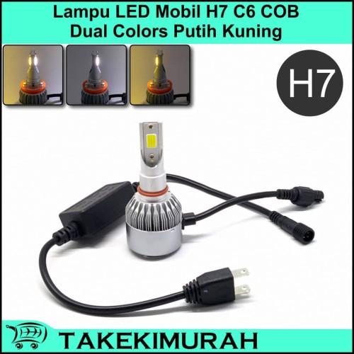 Foto Produk Lampu LED Mobil H7 C6 COB Dual Colors Putih Kuning dari Takekimurah