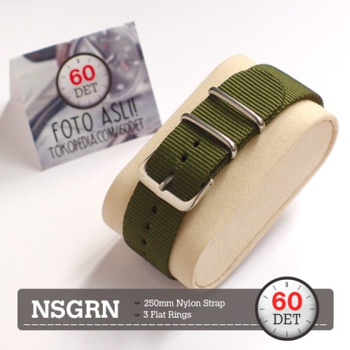 Foto Produk Nato Strap Tali Jam Tangan Canvas Nylon Kain 18mm 20mm 22mm 24mm NSGRN dari 60DET