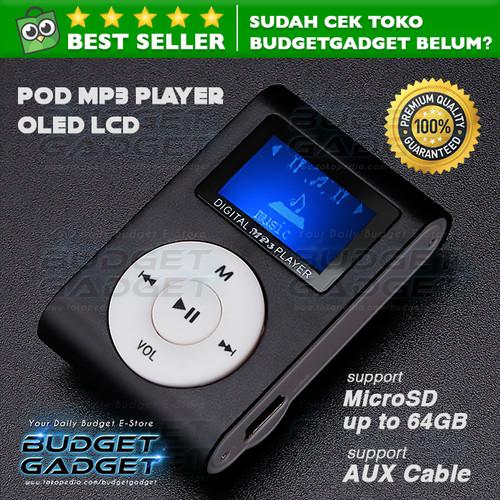 Foto Produk Pod MP3 Player TF card with Small Clip Silver and LCD Screen - Hitam dari BudgetGadget