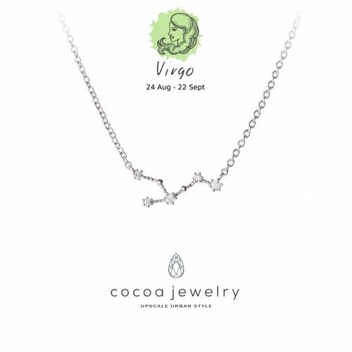 Foto Produk Kalung Perhiasan Korean Jewelry Liontin Zodiak Virgo Silver Color dari cocoa jewelry