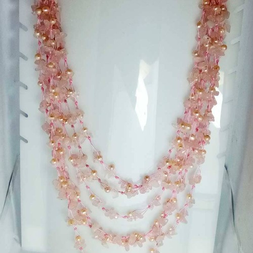 Foto Produk VeE Kalung Mutiara Kombinasi Batu Rose Quartz dari Vee Jewelry