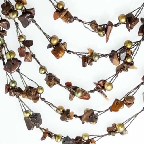 Foto Produk VeE Kalung Mutiara Kombinasi Batu Tiger Eye dari Vee Jewelry