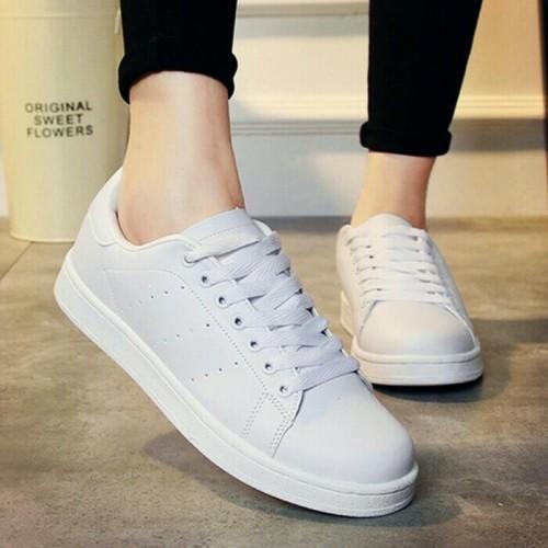 Foto Produk sepatu sneaker putih polos kets wanita murah ready no 36 37 38 39 40 dari MALKAN STORE