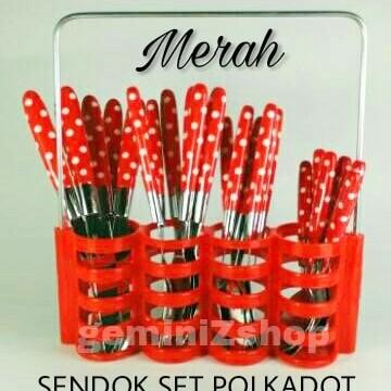 Foto Produk Sendok Set Polkadot AB645a MERAH dari geminizshop