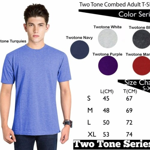 Foto Produk Kaos Polos TwoTone CVC Combed 30s Lengan Pendek dari Supplier Kaos ID