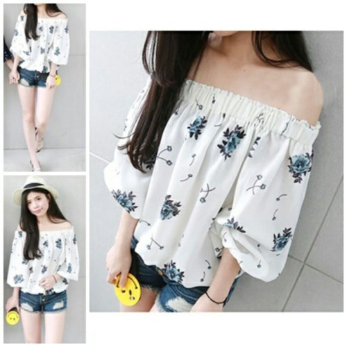 Foto Produk MFC313 Mawar Blouse Flower Blus Kaos Baju Atasan Wanita Murah Supplier dari My Fashion Collection