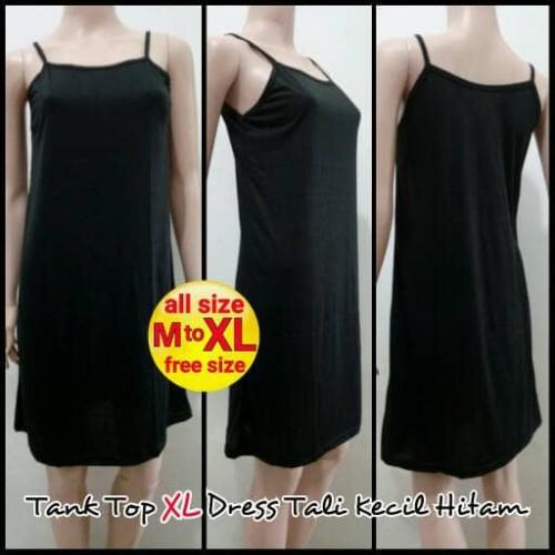 Foto Produk Tank Top XL Dress Tali Kecil Hitam - Melar | Terusan Inner Panjang dari Aneka  Busana