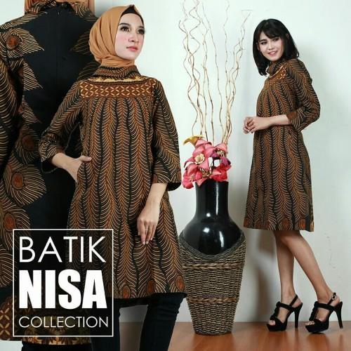 Foto Produk Baju Batik Dress Terusan Wanita Merak Katun Cap Malam Etnik Baru dari Batik Nisa Colection