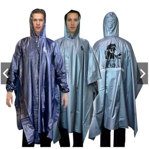 Foto Produk Jas Hujan OMG Poncho Lengan Karet PVC 100% Waterproof Ponco Raincoat - Perak dari lbagstore