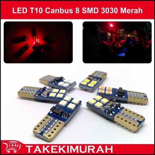 Foto Produk LED T10 Canbus 8 SMD 3030 Merah dari Takekimurah