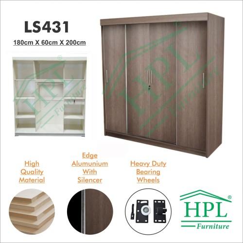 Foto Produk Lemari Pakaian Sliding Door 4 Pintu HPL-Coklat Motif Kayu LS431 dari HOMKING Furniture