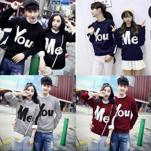 Foto Produk Baju Couple Sweater Kapel Terbaru 16286 Lp You Me dari FashionOnlineShop