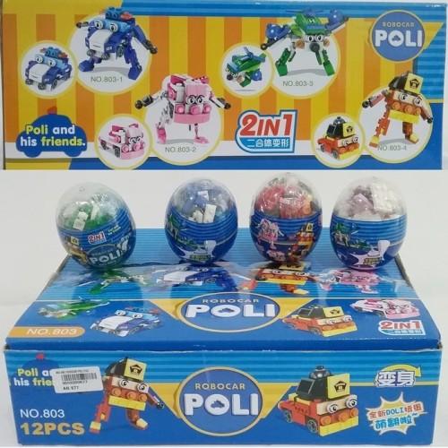 Foto Produk Robocar POLI 2 in 1 Figure Surprise Egg-Telur-Block-Lego-Robot Mobil dari kalarta shop