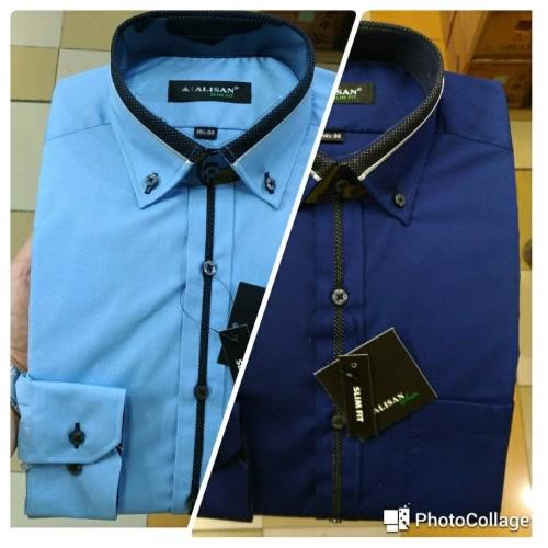 Foto Produk Kemeja Pria Alisan Slimfit Panjang Biru Navy Biru Langit List Tengah - Biru, S dari Mega Hero Shirts