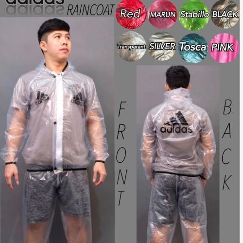 Foto Produk Best Seller - Jas Hujan Adidas Putih Transparan / Raincoat Adidas - Putih dari Jshop Jersey