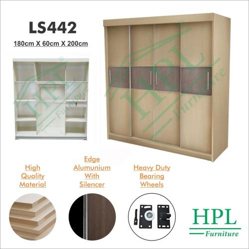 Foto Produk Lemari Pakaian Sliding Door 4 Pintu HPL-Krem LS442 dari HOMKING Furniture