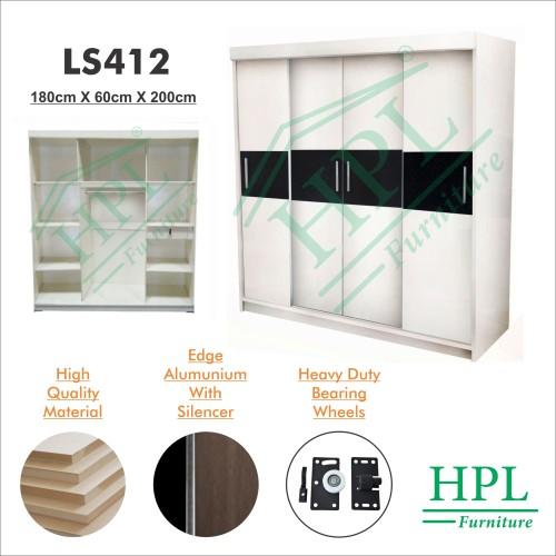 Foto Produk Lemari Pakaian Sliding Door 4 Pintu HPL-Putih Strip LS412 - Merah dari HOMKING Furniture
