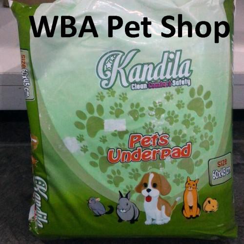 Foto Produk Alas Kandang / Perlak Pipis / Pee Pad Hewan ukuran 60x45cm isi 20pcs dari Warung Baju Anjing