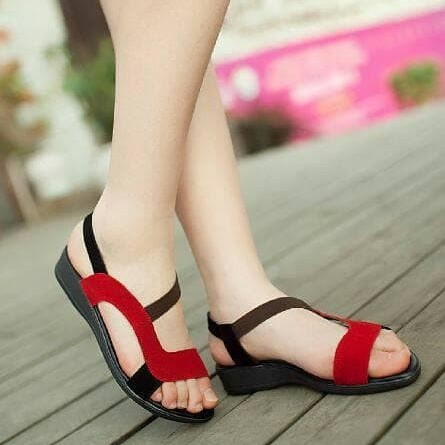 Foto Produk Sandal Wanita Tali Hitam Merah Elegan TP08 dari BELENI
