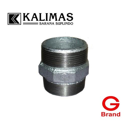 "Foto Produk Double Nepple Galvanis Besi d. 1/2"" Drat BSPT (G) dari kalimas.online"