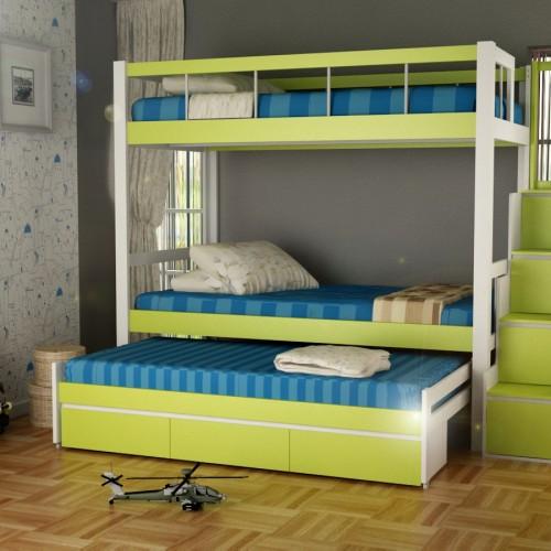 Foto Produk Funkids Tempat Tidur Anak Triple Bed Lecia 01-100 Tangga Laci dari Funkids Furniture